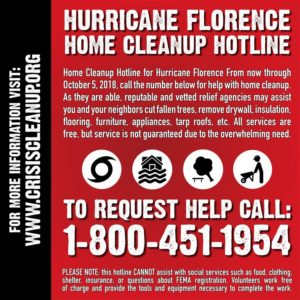 Hurricane Florence Home Cleanup Hotline