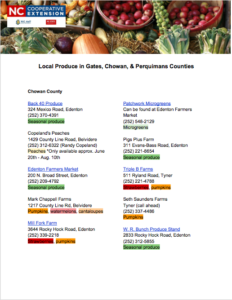 Cover photo for Local Produce in Gates, Chowan, and Perquimans Counties